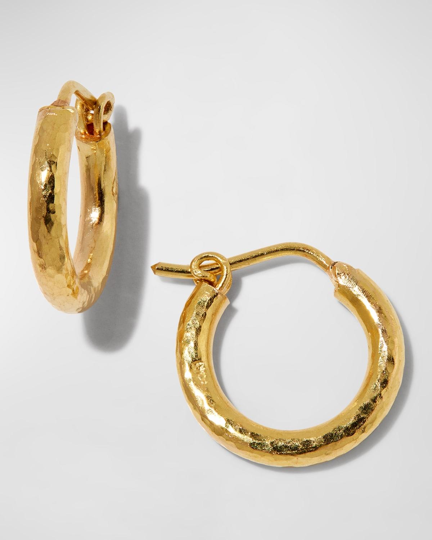 Big Baby Hammered 19k Gold Hoop Earrings