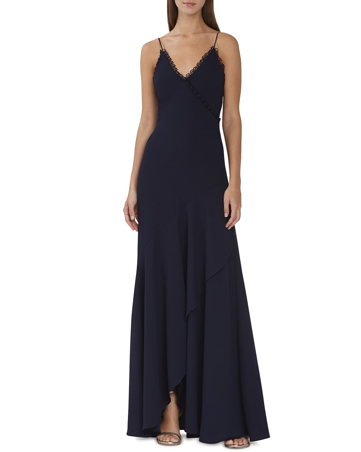 Loop-Lace Trim Wrapped Gown