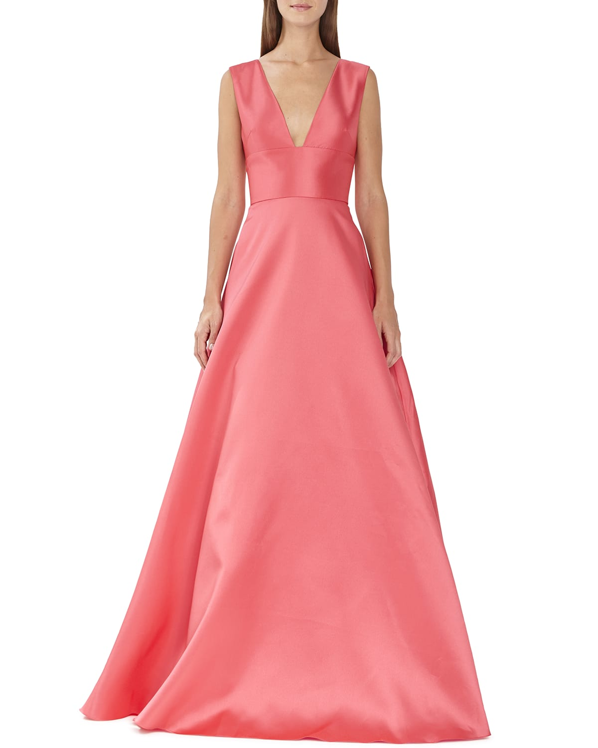 V-Neck Solid Mikado Gown