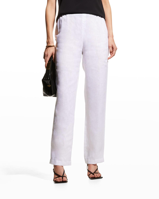 Tissue Linen Straight-Leg Pants