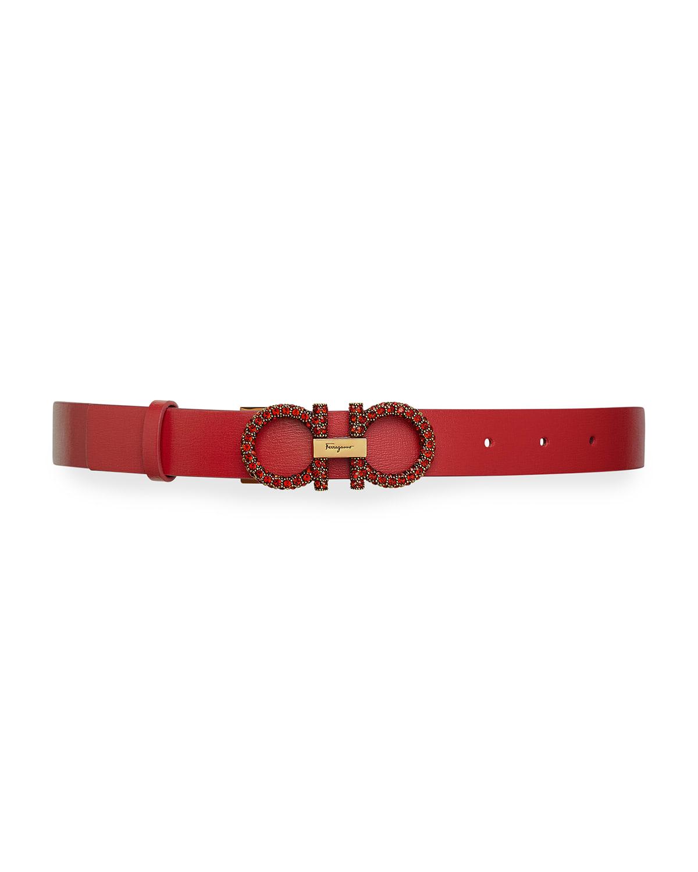 Strass Gancini-Buckle Leather Belt