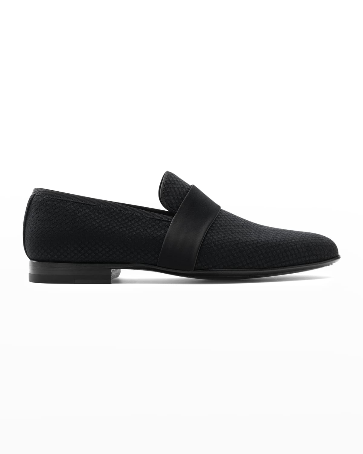 Men's Textured Loafers with Leather Strap