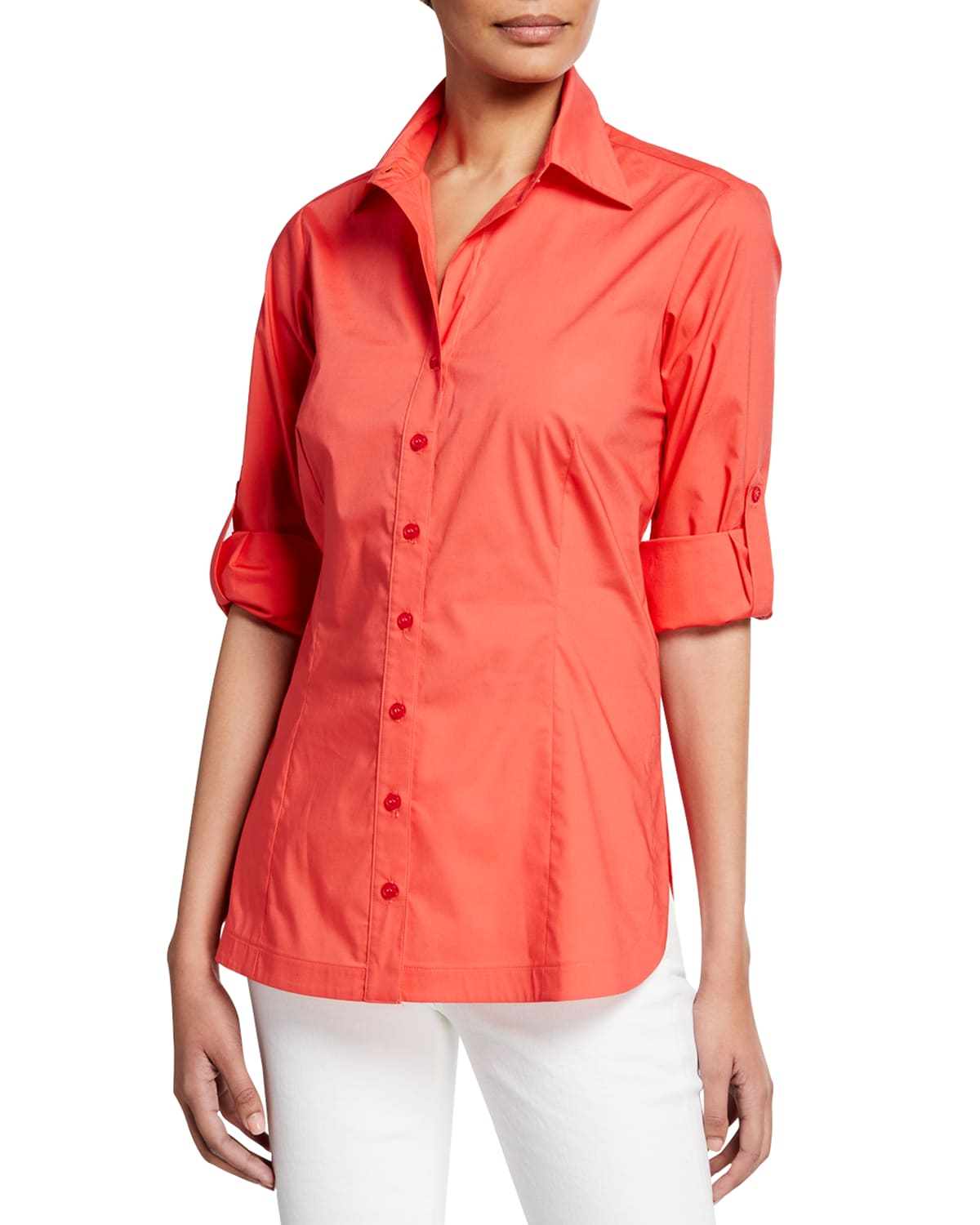Joey Button-Down Roll-Sleeve Top