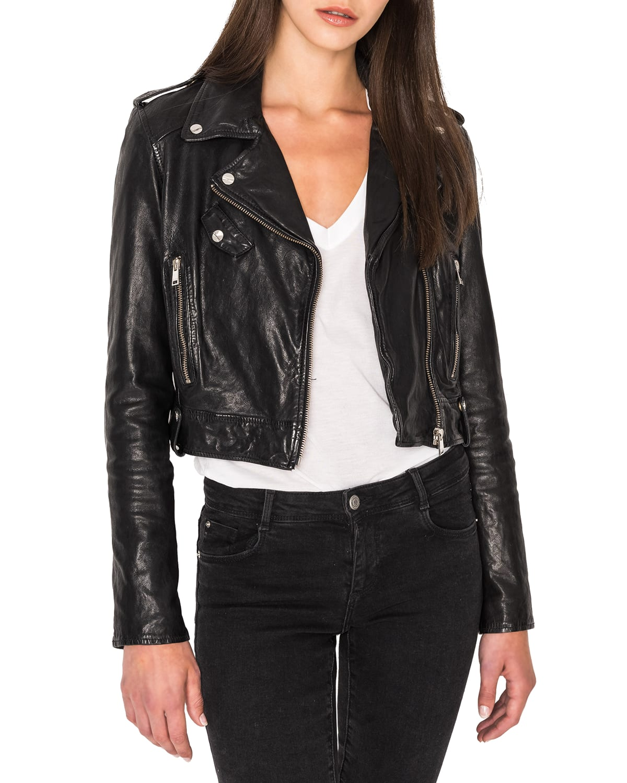 Ciara Cropped Leather Moto Jacket