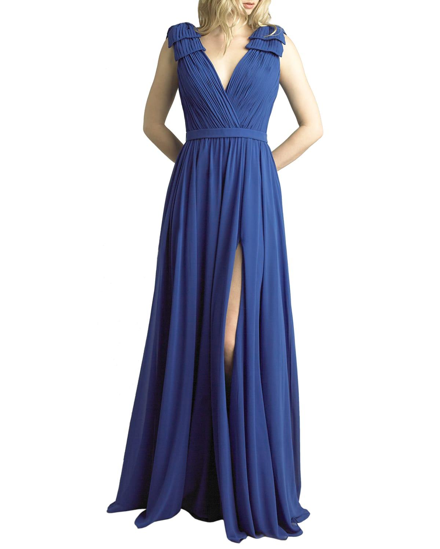 V-Neck Sleeveless Bow-Shoulder Gown