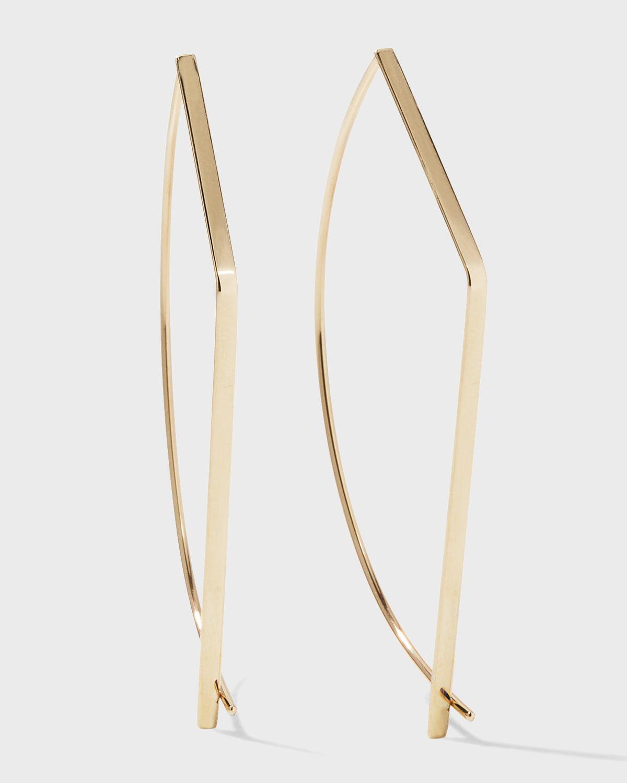 14k Gold Angular Pull-Through Earrings