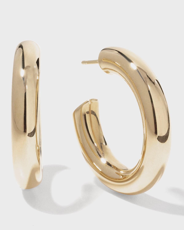 Hollow 14k Gold Wide Mini Hoop Earrings