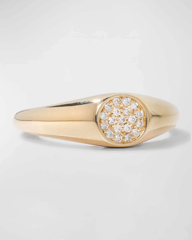 14k Round Diamond Signet Ring