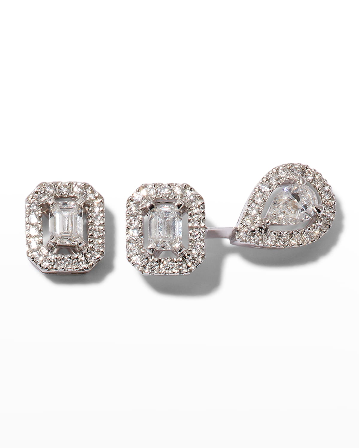 My Twin 18k White Gold 1 and 2 Diamond Earrings
