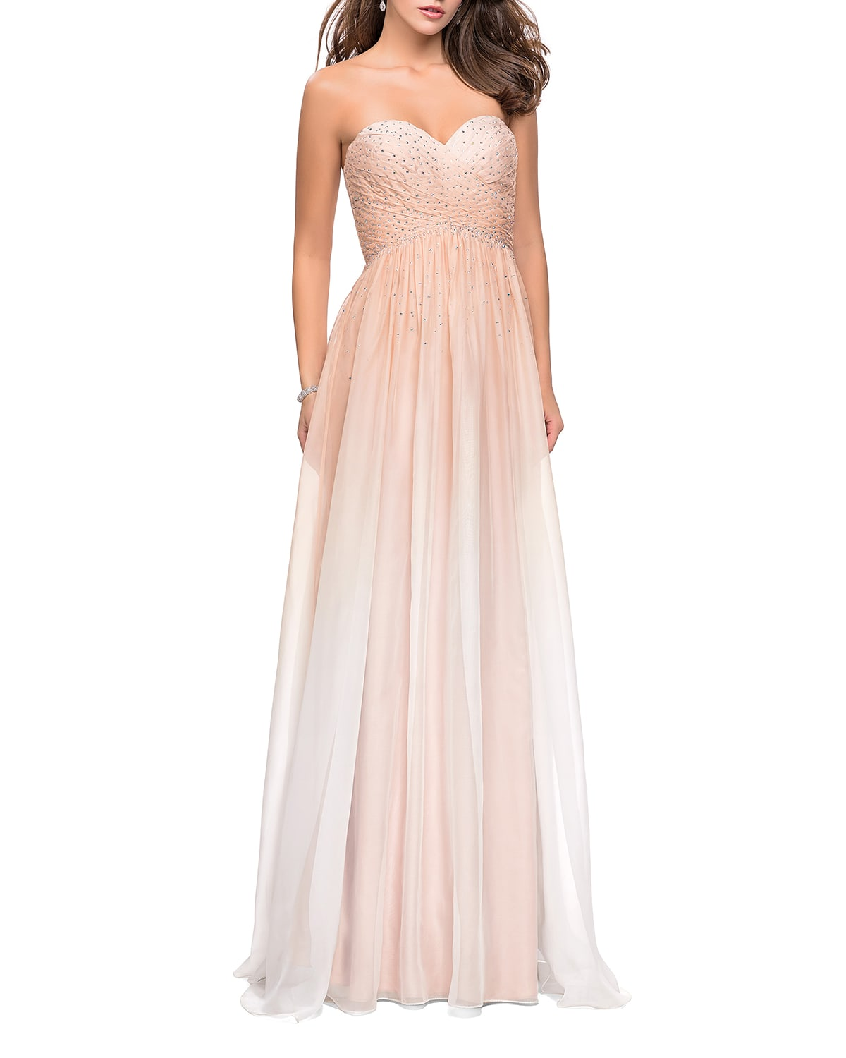 Ombre Rhinestone Embellished Strapless Chiffon Gown