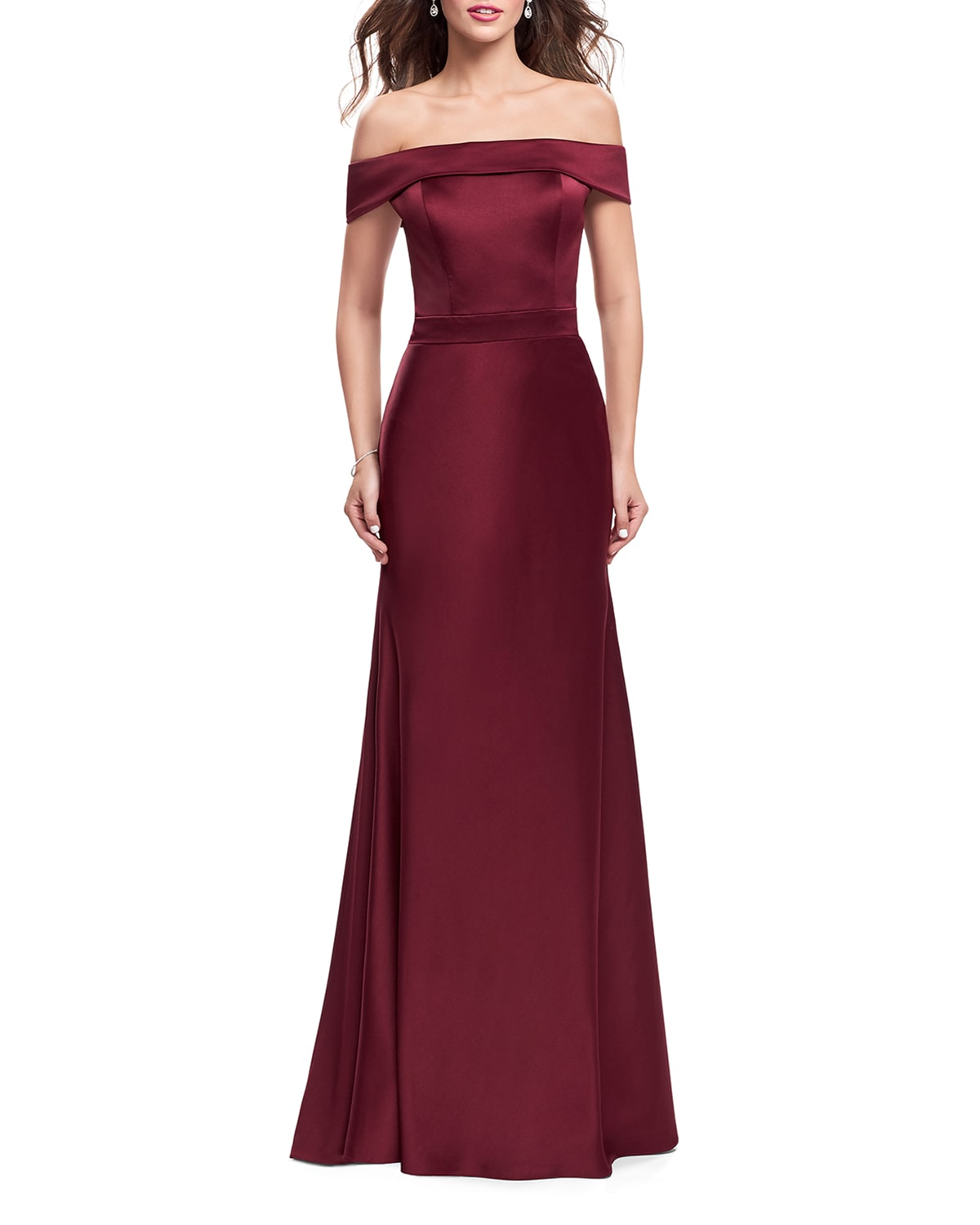 Off-the-Shoulder Short-Sleeve Satin Gown w/ Flared Skirt