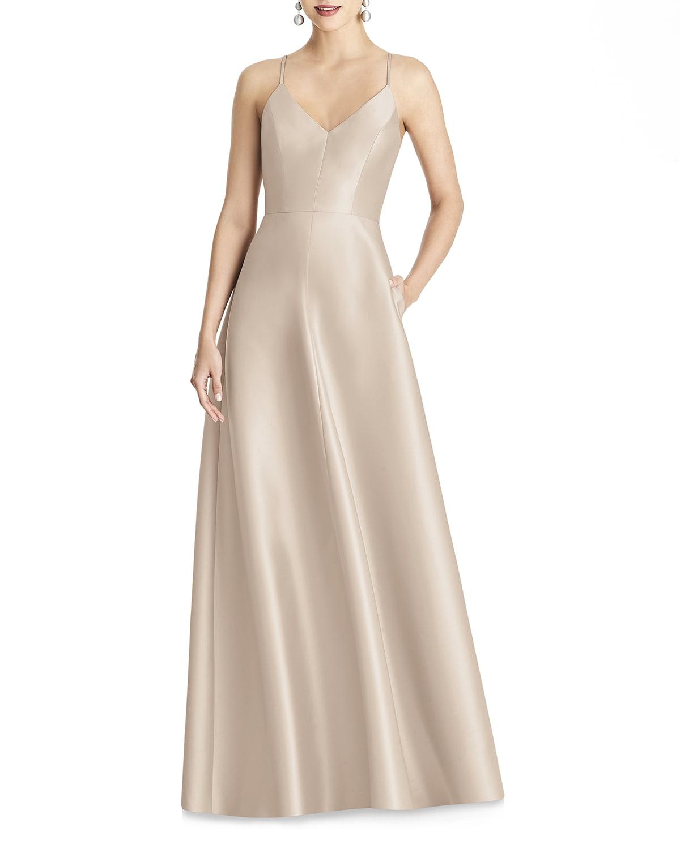 V-Neck Sleeveless Cross-Back Sateen Gown
