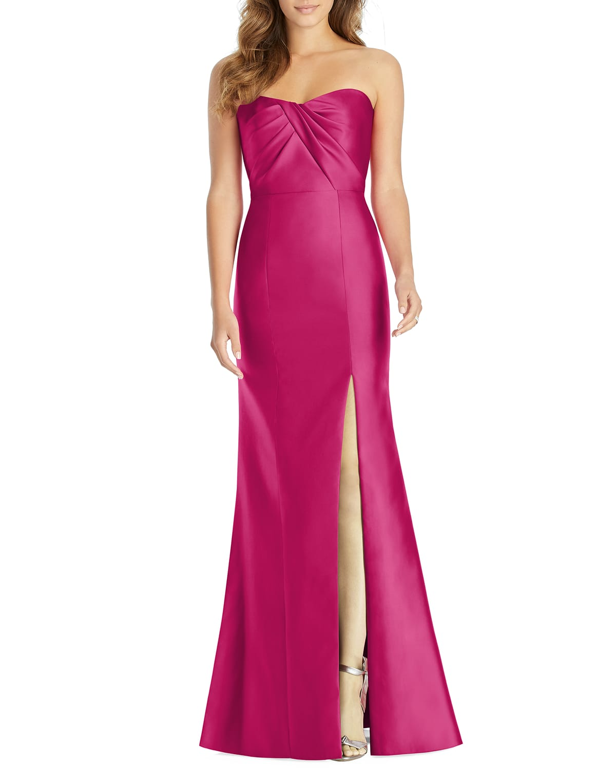 Strapless Sweetheart Draped-Bodice Gown w/ Thigh-Slit