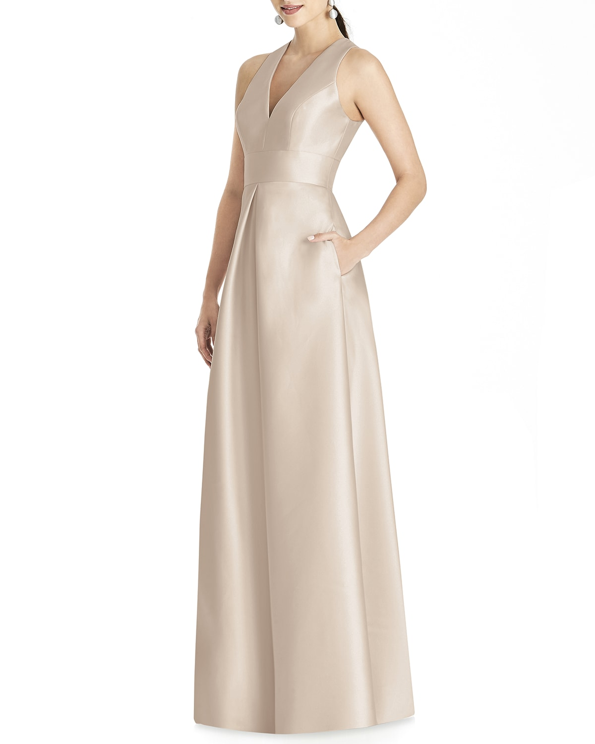 V-Neck Sleeveless A-Line Gown with Geometric Back-Cutout