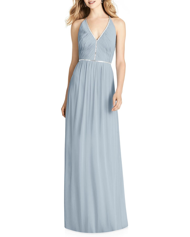 V-Neck Sleeveless Cross-Back Luxe Chiffon Gown Bridesmaid Dress
