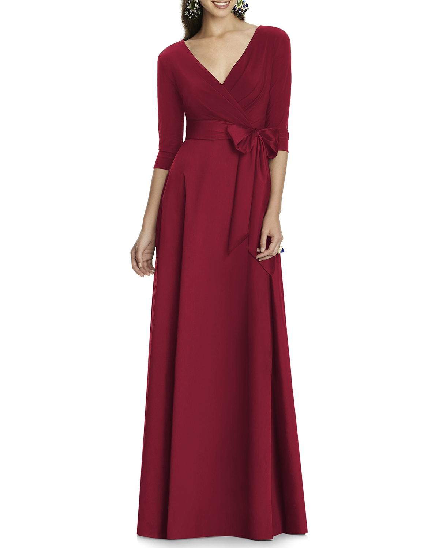 V-Neck 3/4-Sleeve Marocain Jersey-Bodice A-Line Gown
