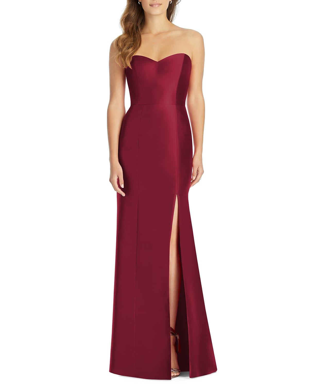 Strapless Sweetheart Sateen Twill Column Gown Bridesmaid Dress