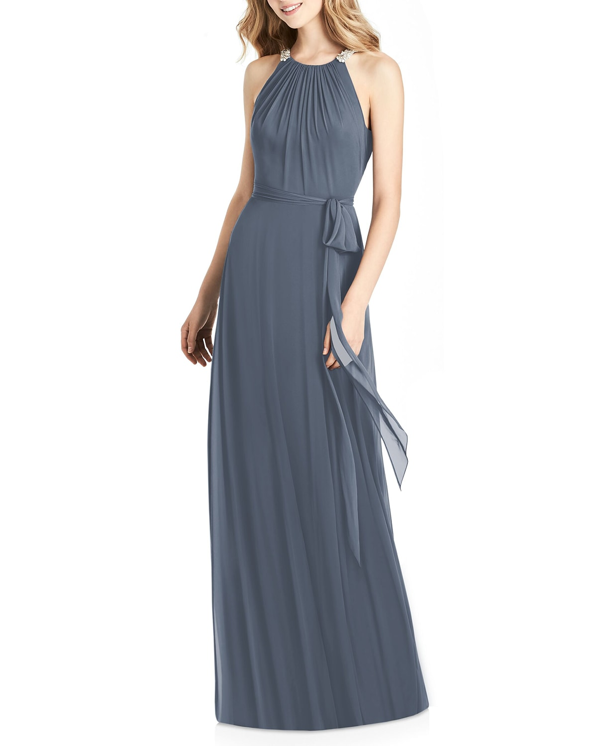 Luxe Chiffon Halter Gown with Beaded Trim