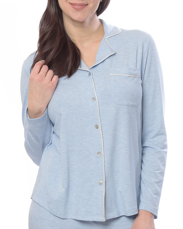 Donna Heathered Jersey Pajama Shirt