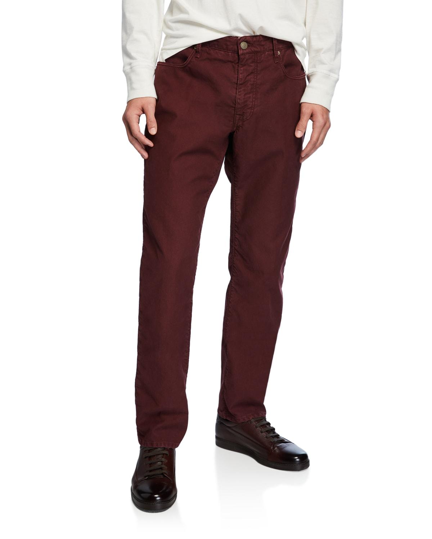 Men's 5-Pocket Chino Flat-Front Pants
