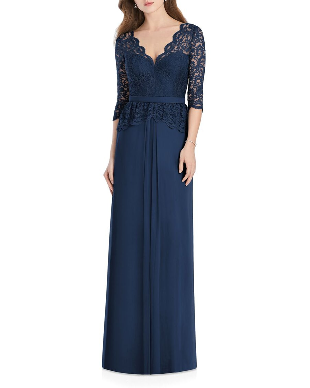 V-Neck 3/4-Sleeve Crepe Bridesmaids Dress w/ Marquis Lace Bodice