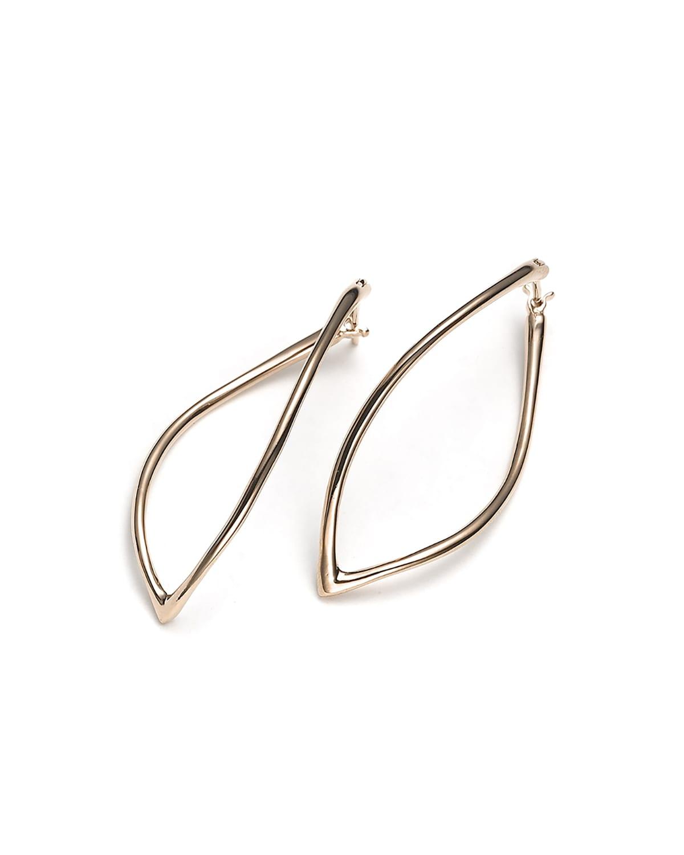 18k Rose Gold Navette Hoop Earrings