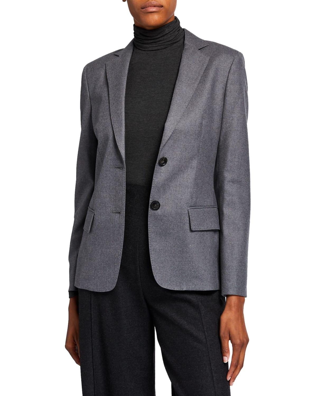 Wool Flannel 2-Button Jacket