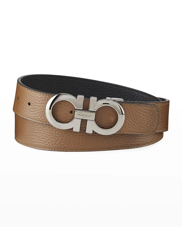 Men's Gancini Reversible Pebbled Leather Belt