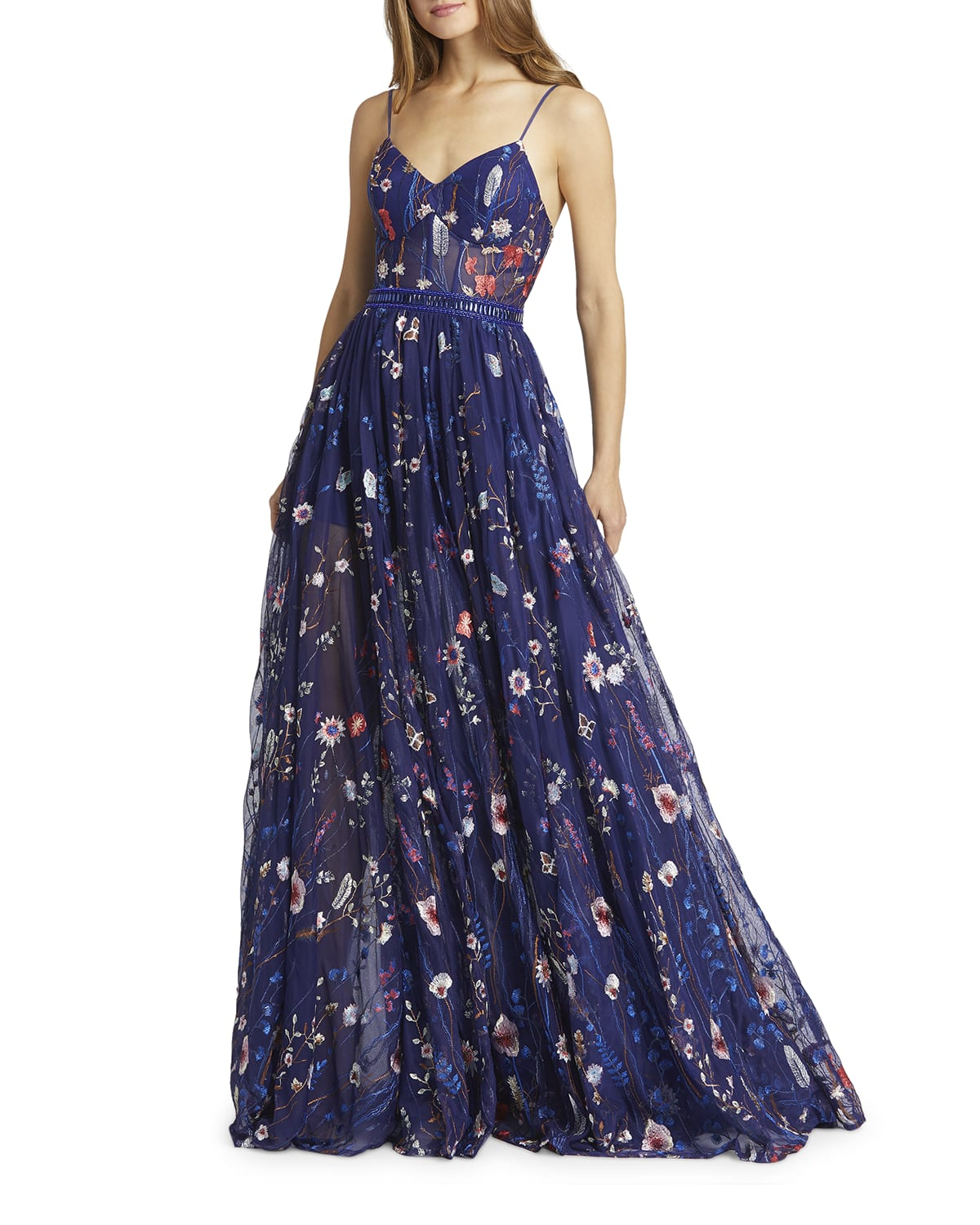 Floral-Embroidered Sweetheart Sleeveless Bustier Gown