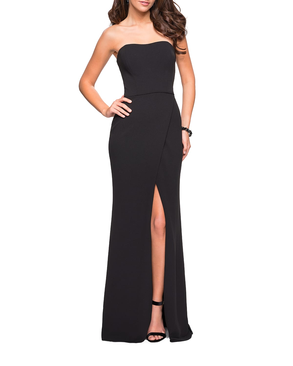 Strapless Strappy-Back Jersey Gown with Slit