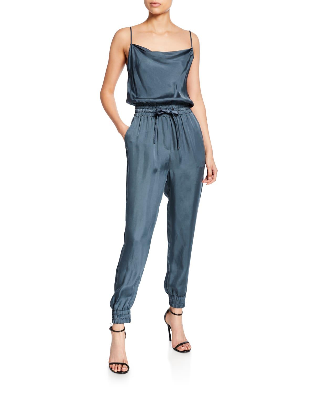 finnley sleeveless cowl-neck drawstring-waist jumpsuit