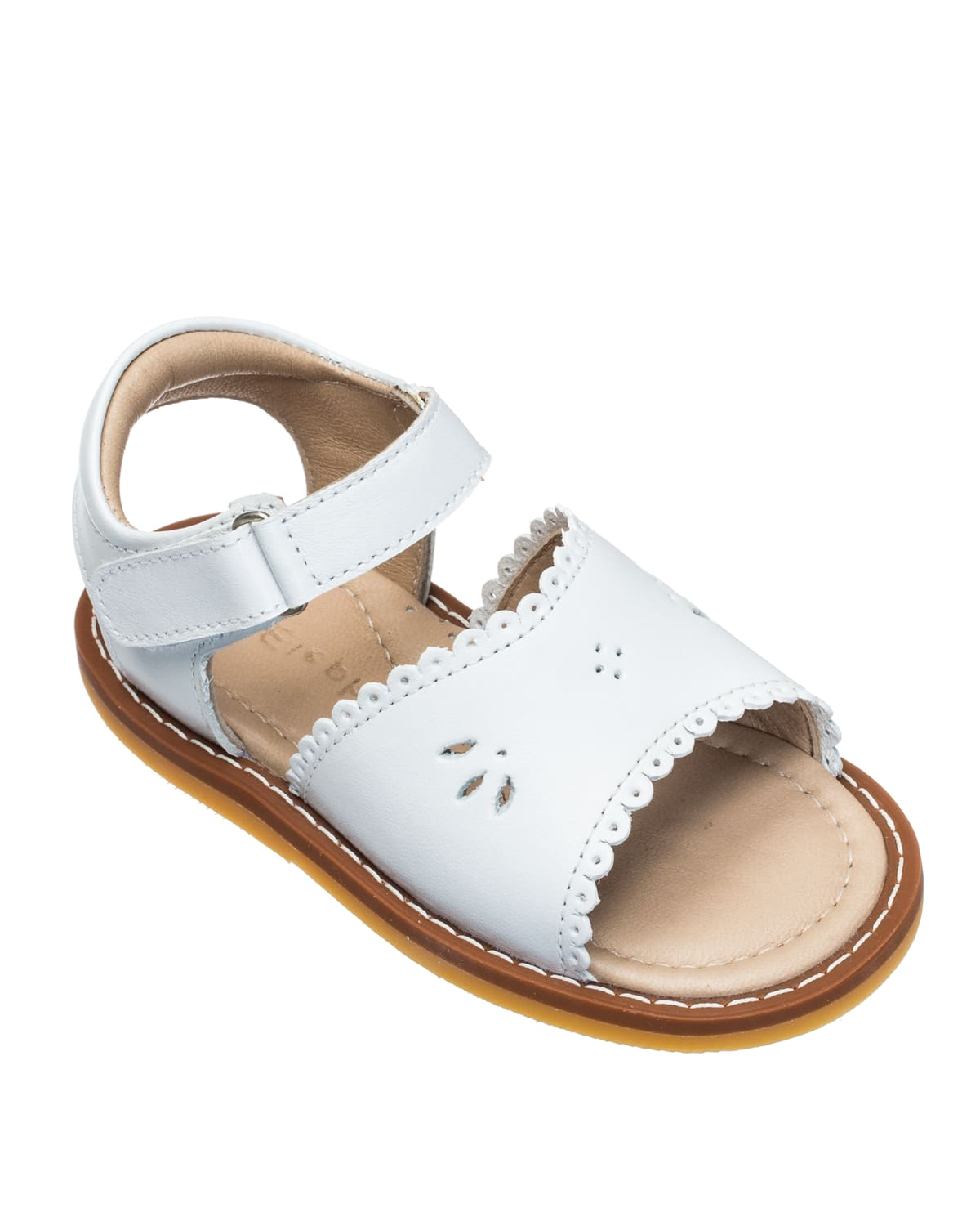 Girls' Classic Leather Scalloped Sandal
