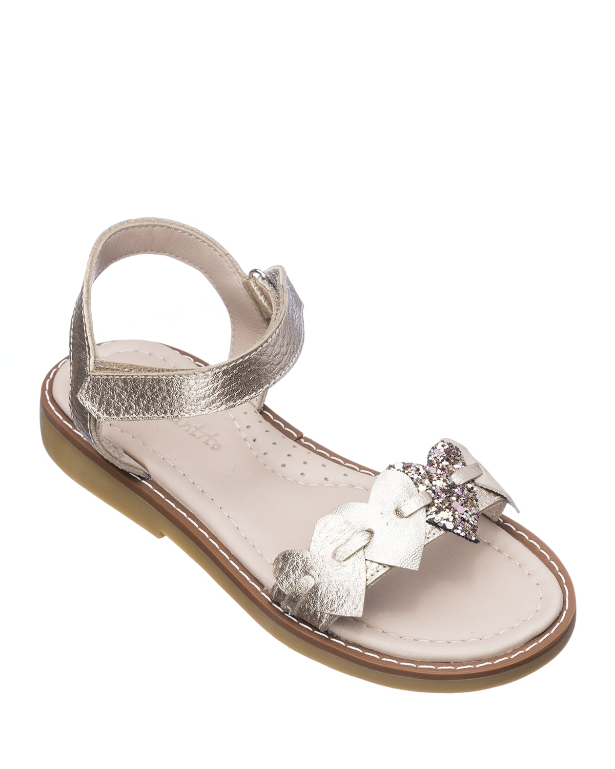 Girls' Leather Heart Sandals