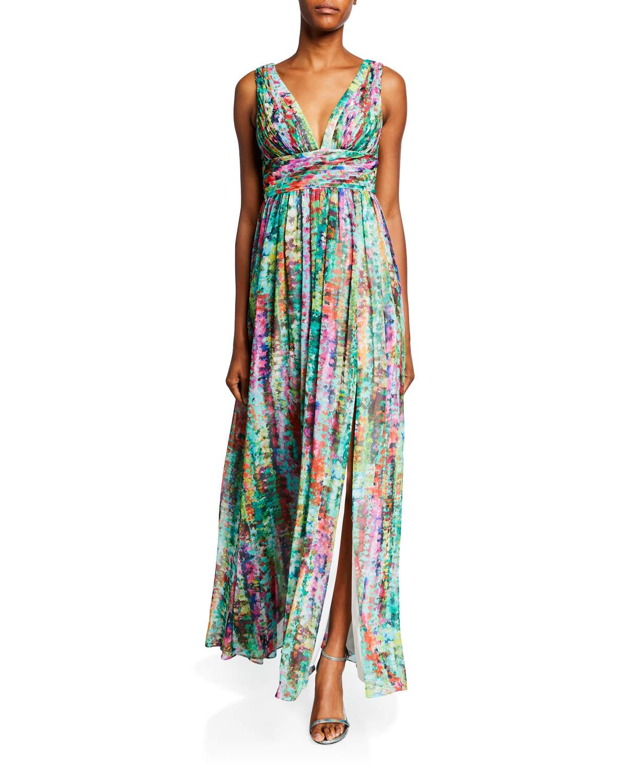 Printed V-Neck Empire-Waist Sleeveless Chiffon Dress