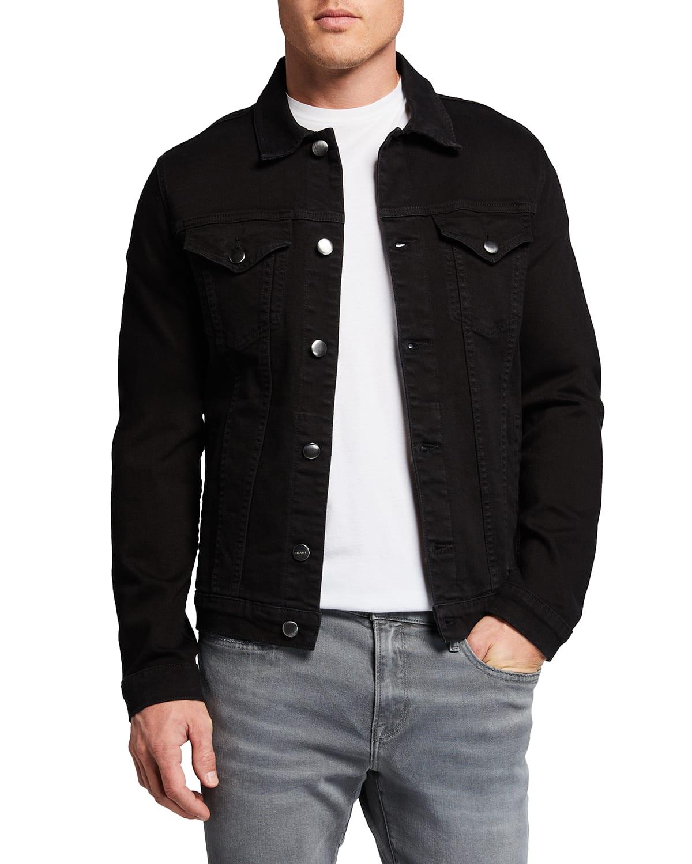Men's L'Homme Button-Front Denim Utility Jacket