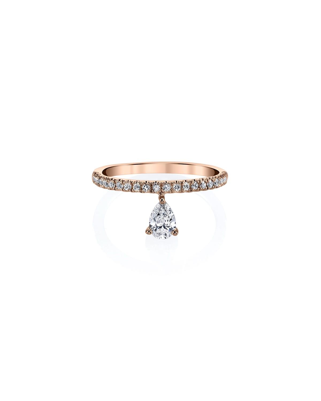 Duchess 18k Rose Gold Eternity Ring with Pear-Cut Diamond
