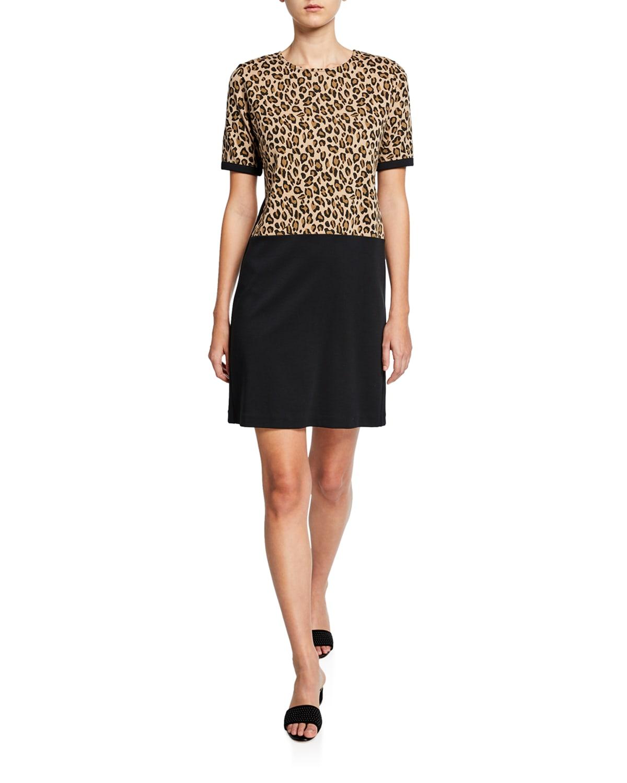 Colorblock Leopard Print Short-Sleeve Cotton Dress