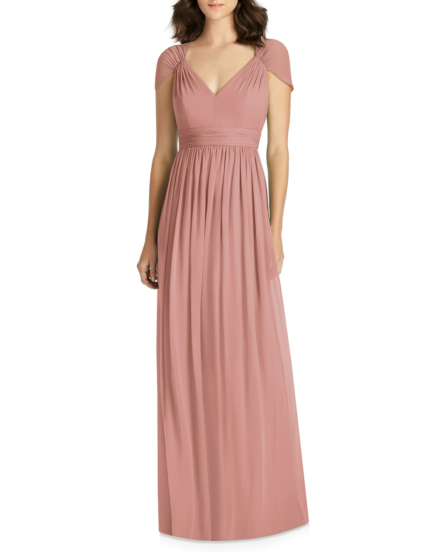 V-Neck Cap-Sleeve Lux Chiffon Column Bridesmaid Gown w/ Cutout Back