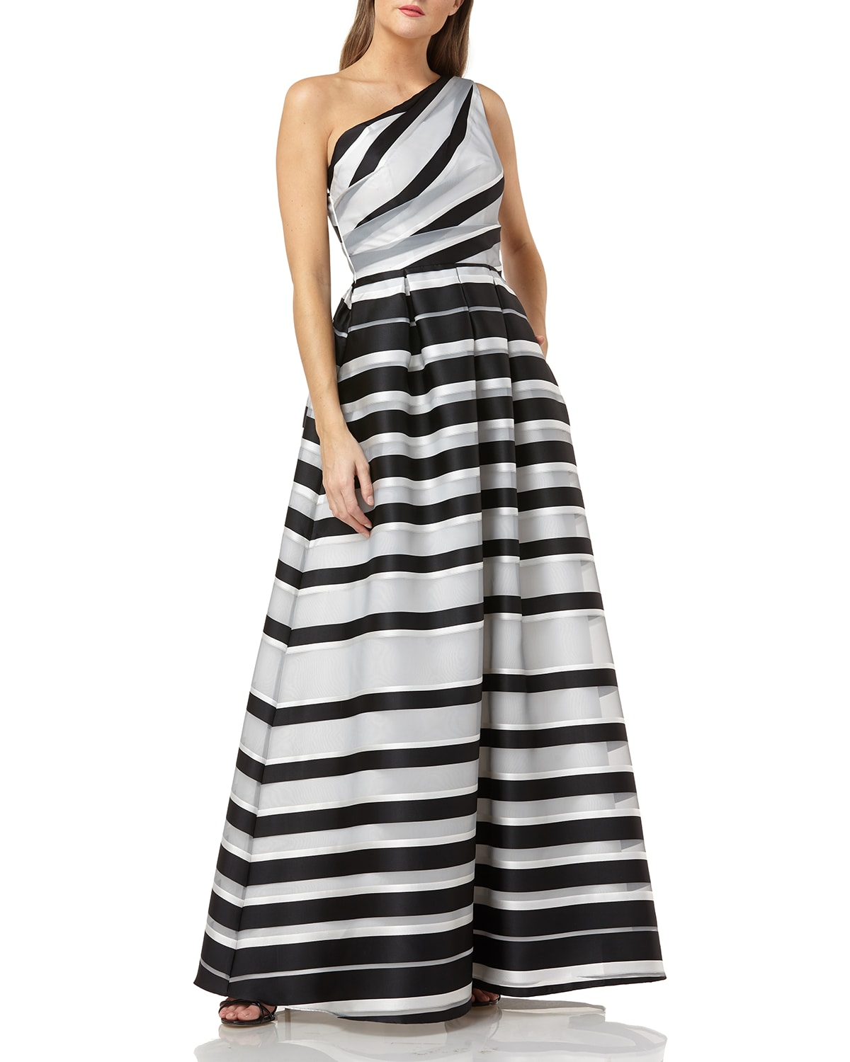 One-Shoulder Striped Ball Gown