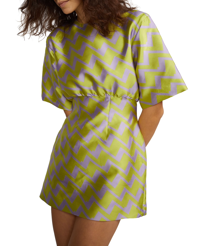Evanstron Short-Sleeve Brocade Mini Dress