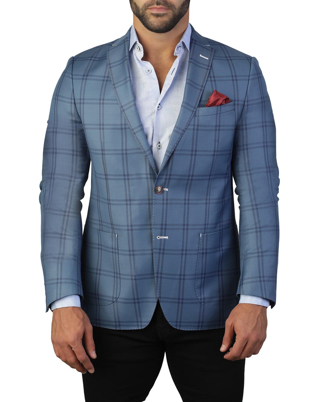 Men's Algebra Check Two-Button Jacket