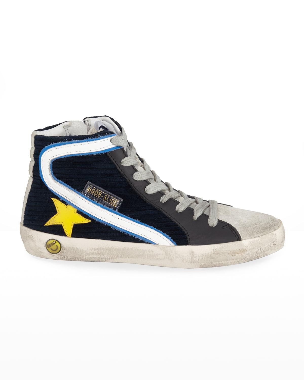Boy's Slide High-Top Corduroy Sneakers