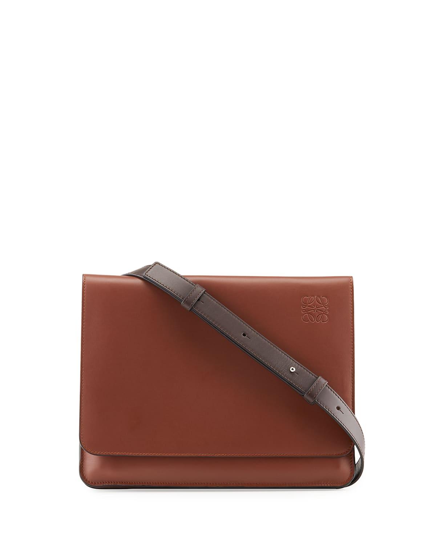 Men's Flat Leather Messenger Bag