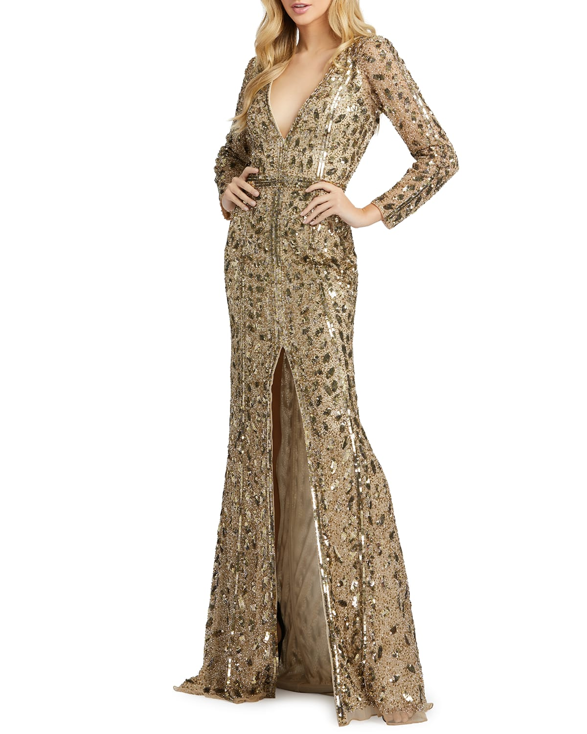 Beaded V-Neck Long-Sleeve Gown with Slit