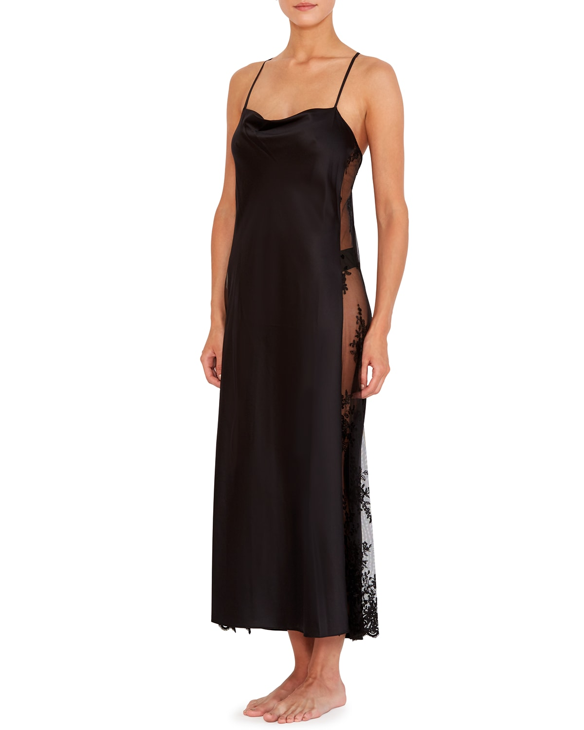 Darling Lace-Inset Satin Gown