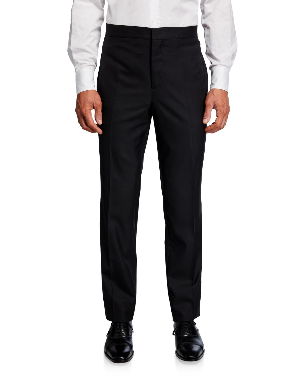Men's Wool-Silk Straight-Leg Evening Pants