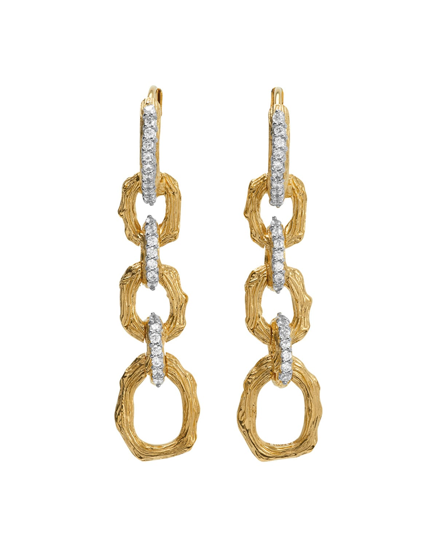 Enchanted Forest Twig Link Two-Tone Earrings w/ Diamonds