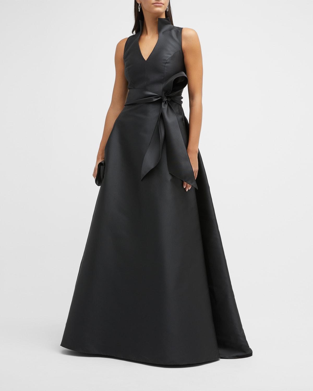 Satin V-Neck Gown