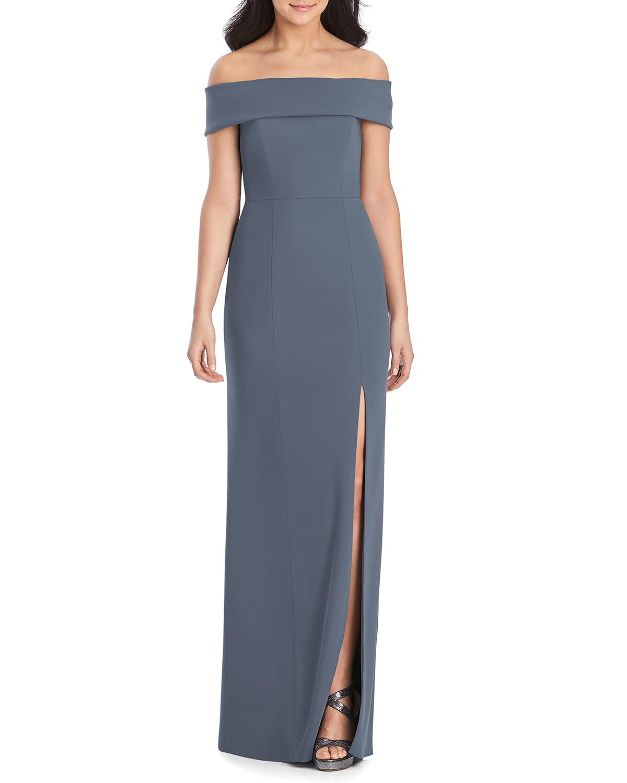 Off-the-Shoulder Crepe Column Gown w/ Slit