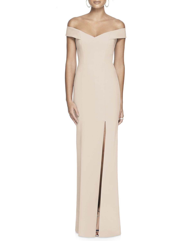 Off-the-Shoulder Short-Sleeve Column Gown w/ Slit
